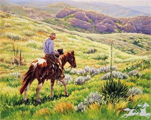 """Joelle Smith Hand Signed and Numbered Limited Edition Lithograph On Paper """"Broke to Ride"""""""