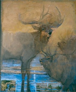 "Mary Roberson Gallery-Wrapped Canvases :""AGITATED ELK"""