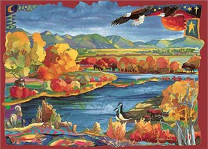 "Nancy Dunlop Cawdrey Handsigned and Numbered Limited Edition Giclee on Canvas :""Madision River Autumn"""