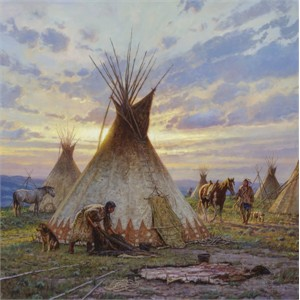 "Tim Cox Handsigned and Numbered Limited Edition Canvas:""Dance of the Blue Cayuse"""
