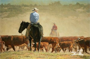 "Bill Owen Hand Numbered Limited Edition Canvas: ""Dusty Trail"""