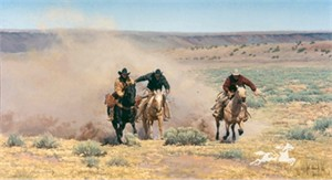 """Bill Owen Hand Numbered Limited Edition Canvas Giclee: """"The Race"""""""