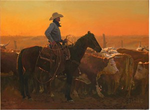 """Bill Owen Hand Numbered Limited Edition Giclee on Canvas:""""Looking for Short Age Calves"""""""