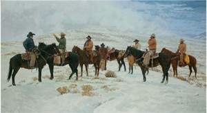 "Bill Owen Hand Signed & Numbered Limited Edition Giclee on Canvas:""Winter Work on the CO Bar"""