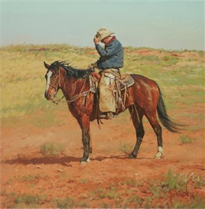 "Bill Owen Hand Numbered Limited Edition Canvas Giclee:""Windswept Plains of the CO Bar"""