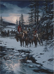 """John Paul Strain Hand Signed and Numbered Limited Edition Executive Canvas Giclée:""""Snow Moon"""""""