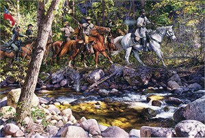 "John Paul Strain Hand Signed and Numbered Limited Edition Giclee:""Skirmish At Toms Brook"""