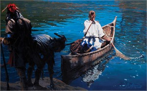 """John Buxton Handsigned and Numbered Limited Edition Canvas Giclee:""""As a Feather on Water"""""""