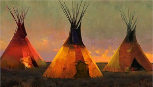 """R. Tom Gilleon Hand-signed and Numbered Limited Edition Canvas Giclee:""""Eternal Triangle"""""""