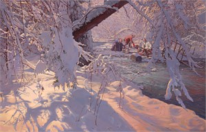 """John Buxton Handsigned and Numbered Limited Edition Canvas Giclee:""""Winter Windfall"""""""