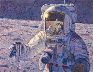 """Alan Bean Hand Signed and Numbered Limited Edition Giclée Canvas:""""A New Frontier"""""""