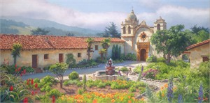 "June Carey Handsigned and Numbered Limited Edition Giclée Canvas:""Little Old Mission by the Sea, Circa 1940"""