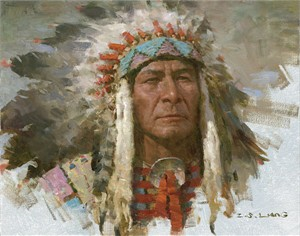 "Z. S. Liang Handsigned and Numbered Limited Edition Giclée Canvas:""Leader of the Tribe"""