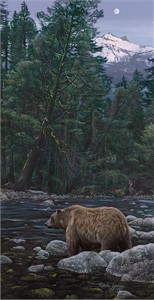 "Stephen Lyman Hand Numbered Estate Signed Anniversary Limited Edition Giclée Canvas:""Moonbear Listens to the Earth"""