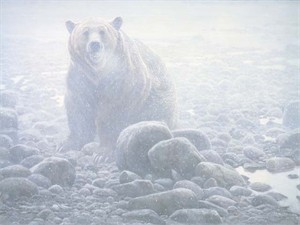 "Robert Bateman Handsigned & Numbered Limited Edition Canvas Giclee:""End of Season Grizzly"""