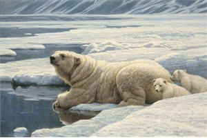 "Robert Bateman Handsigned and Numbered Limited Edition Renaissance Giclee on Canvas: ""Artic Family"""