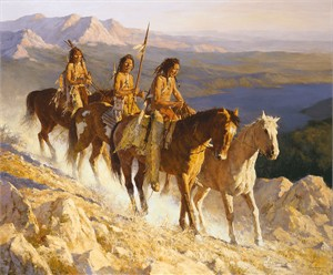 "Howard Terpning Handsigned and Numbered Limited Edition Canvas Giclee: ""Trail Along the Backbone"""