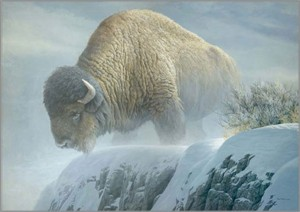 "Robert Bateman  Handsigned and Numbered Limited Edition Giclee on Canvas: ""Winter Bison"""