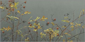 "Robert Bateman  Handsigned and Numbered Limited Edition Giclee on Canvas: ""Rose Hip and Kinglet """