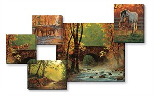 "Chris Cummings Wrapped Canvas Quintet Set/5:""Autumn Bridge – Scenery"""