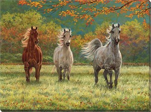 "Chris Cummings Gallery Wrapped Open Edition Canvas Giclee:""Autumn Meadow – Horses"""
