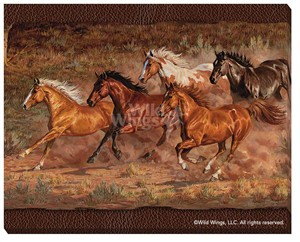 "Chris Cummings Wrapped Canvas:""Downhill Run – Horses"""