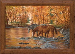 "Chris Cummings Oversized Framed Canvas:""Serenity – Horses"""