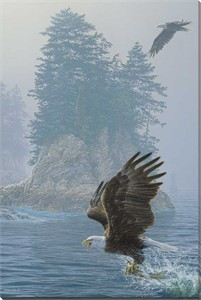 "Lee Kromschroeder Gallery Wrapped Canvas Giclee:""Fly Fishing – Bald Eagle"""