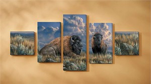 """Rosemary Millette Gallery Wrapped Canvas Quintet Set/5:""""Distant Thunder – Bison"""""""