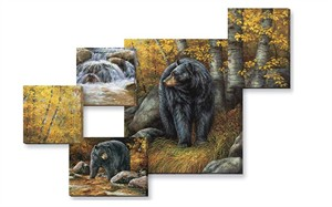 """Rosemary Millette Gallery Wrapped Canvas Giclee Quintet Set/5:""""Shades of Autumn – Black Bear"""""""