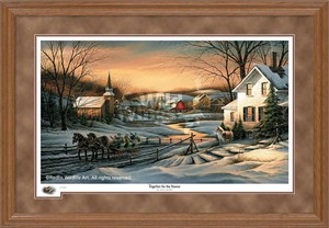 "Terry Redlin Oak Framed 2016 Limited Edition Holiday Print:""Together for the Season"""