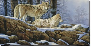 "Rosemary Millette Gallery Wrapped Canvas Giclee:""Winter Silence – Wolves"""