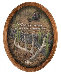 "Michael Sieve Framed Oval Canvas:""April's Promise –Turkey & Shed Antler"""