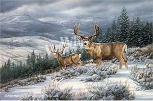 "Rosemary Millette Limited Edition Artist Proof Print:""Break in Storm-Mule Deer"""