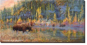 "Valeria Yost Gallery Wrapped Canvas Giclee:""Rituals of Fall – Moose"""
