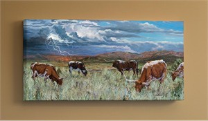 "Valeria Yost Gallery Wrapped Canvas Giclee:""Rolling Thunder - Longhorns"""