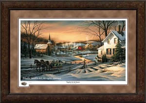 "Terry Redlin Premium Framed 2016 Limited Edition Holiday Print:""Together for the Season"""