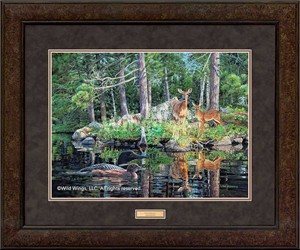 "Jim Kasper Premium Framed Art Print:""Neighbors-Whitetail Deer and Loons"""