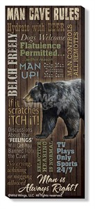 """Rosemary Millette Gallery Wrap Canvas Giclee :""""Man Cave Rules """""""