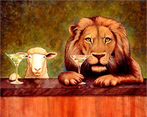 """Will Bullas Fine Art Open Edition Canvas :""""Peaceable Kingdom with Two Olives"""""""