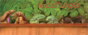 "Will Bullas Fine Art Limited Edition Giclee Canvas :""The Lizard Lounge"""