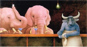 "Will Bullas Fine Art Signed Open Edition Paper :""Pink Elephants & Blue Martinis"""