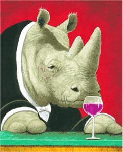 "Will Bullas Fine Art Signed Open Edition Canvas :""Rhino Noir"""
