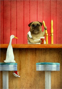 "Will Bullas Fine Art Signed Open Edition Canvas :""Brew Pug"""
