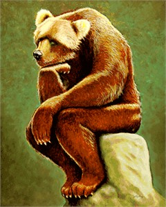 "Will Bullas Fine Art Signed Open Edition Canvas :""Does a Bear Sit in the Woods?"""