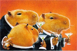 "Will Bullas Fine Art Signed Open Edition Paper :""The Capybara Club"""