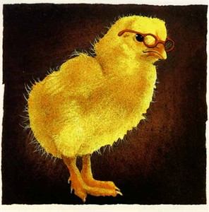 """Will Bullas Fine Art Limited Edition Paper :""""A Chick with Brains"""""""