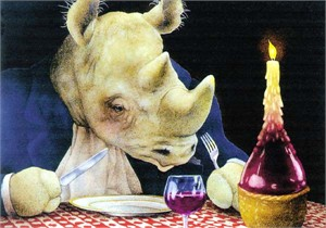 "Will Bullas Fine Art Signed Open Edition Paper :""Dine-oceros"""