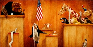 "Will Bullas Fine Art Open Edition Canvas :""Ewe is on Trial"""