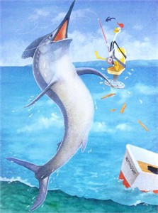 "Will Bullas Fine Art Signed Open Edition Paper :""Fishing Stories...The Marlin"""